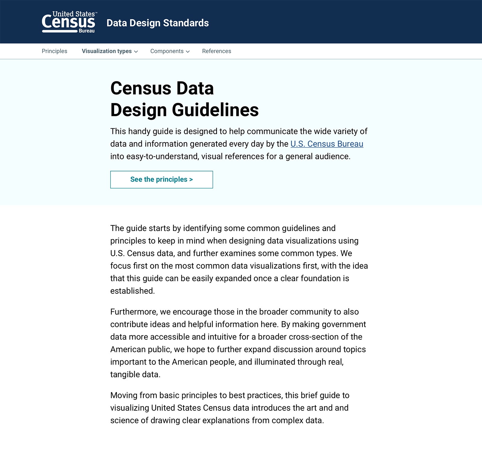 U.S. Census data visualizstion guidelines home page