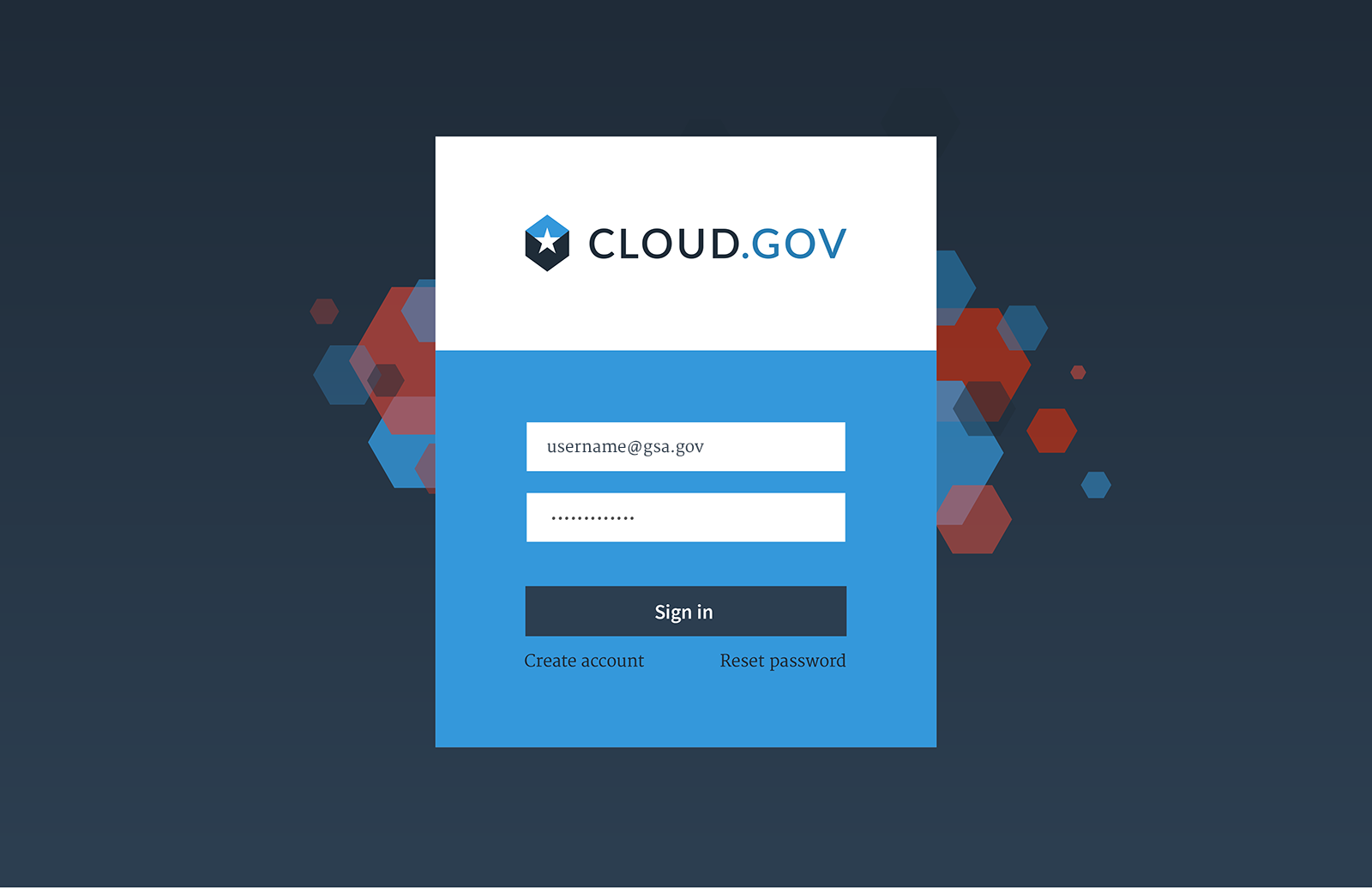 cloud.gov sign in page comp